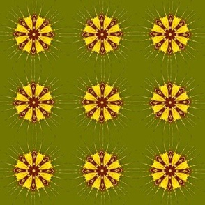 Starburst Pale Gold Yellow on Olive Green