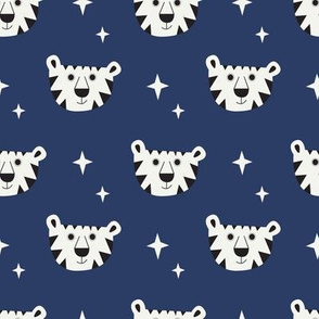 White tiger on navy