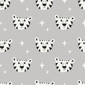 White tiger on grey