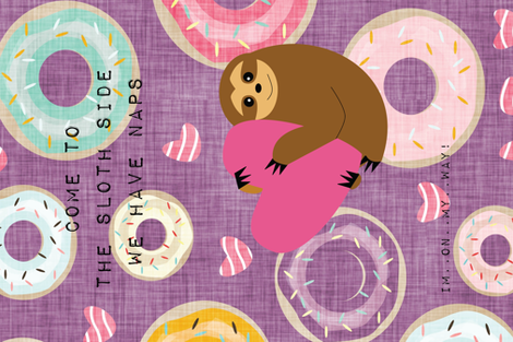 come to the sloth side... purple fabric by bruxamagica on Spoonflower - custom fabric