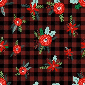 buffalo plaid floral fabric // christmas fabric, xmas fabric by the yard, holiday fabric by the yard, check