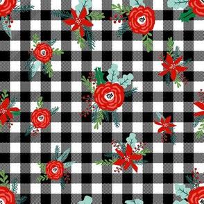 buffalo plaid floral fabric // christmas fabric, xmas fabric by the yard, holiday fabric by the yard, check