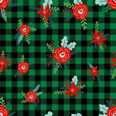 buffalo plaid floral fabric // christmas fabric, xmas fabric by the yard, holiday fabric by the yard, check fabric by charlottewinter on Spoonflower - custom fabric
