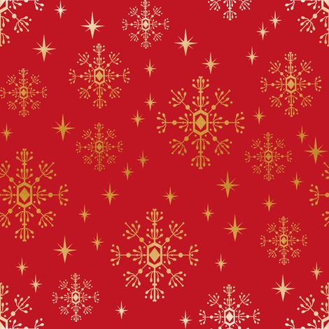 christmas fabric 2018, snowflake fabric, gold metallic fabric, christmas fabric for quilting, christmas fabric, holiday fabric, snowflake design - red and gold fabric by charlottewinter on Spoonflower - custom fabric
