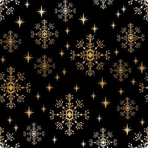 metallic look snowflake fabric, christmas fabric by the yard, christmas fabric 2018, christmas fabric for quilting, metallic christmas wrap, christmas gift wrap, wrapping paper, spoonflower christmas fabric - black and gold