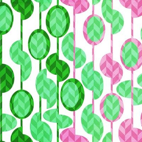 Beads and seeds pink green