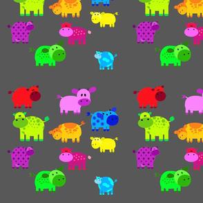 rainbow cows with dark grey background