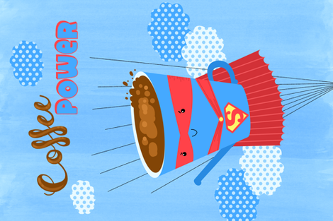 coffee power fabric by gnoppoletta on Spoonflower - custom fabric