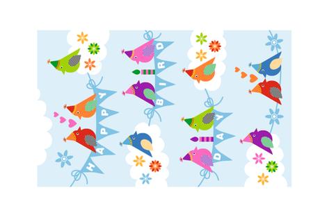 Happy Bird Day! Tea Towel fabric by pinkdeer on Spoonflower - custom fabric