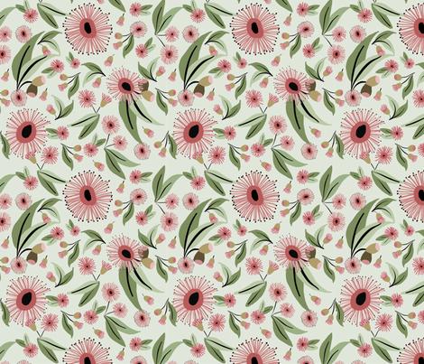 eucalyptus flowers leaves fabric by laurawrightstudio on Spoonflower - custom fabric