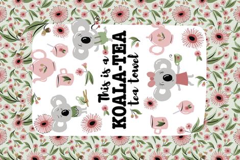 koala tea tea towel fabric by laurawrightstudio on Spoonflower - custom fabric