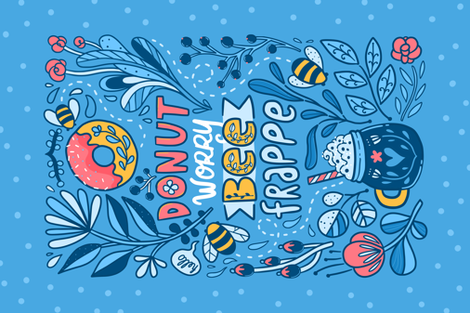 Donut worry bee frappe fabric by kostolom3000 on Spoonflower - custom fabric