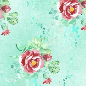 Watercolor marsala roses and succulents bouquets