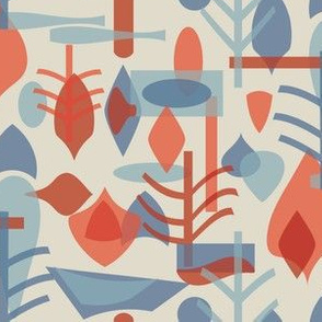 Abstract Woodland Blue Red