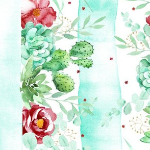 watercolor marsala roses and succulents with stripes