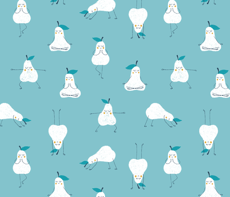 Yoga Pears in blue fabric by tatiabaurre on Spoonflower - custom fabric