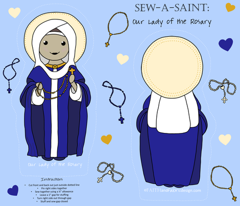 Sew a Saint: Our Lady of the Rosary fabric by faithandfabric on Spoonflower - custom fabric