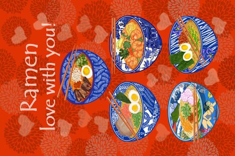 RAMEN LOVE WITH YOU! fabric by honoluludesign on Spoonflower - custom fabric