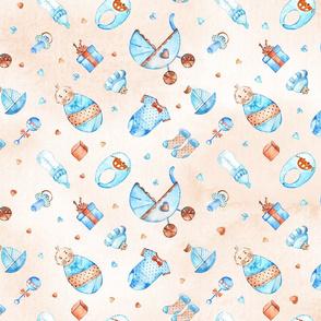 Watercolor baby boy pattern