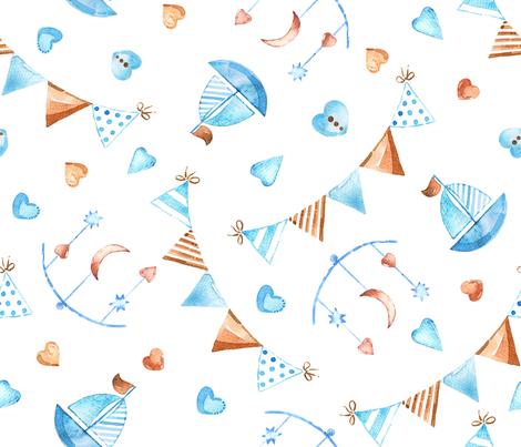 Watercolor baby boy pattern fabric by ringele on Spoonflower - custom fabric