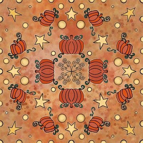 Fall Project 786.3 | Autumn Pumpkins and Stars on Golden Orange Watercolor