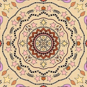 Fall Project 83.3 | Autumn Pumpkin & Stars Mandala on Cream