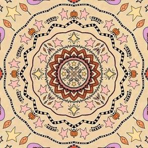 Fall Project 83.3 | Autumn Pumpkin & Stars Mandala on Cream