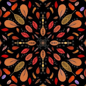 Fall Project 80.2 | Autumn Leaves on Black Mandala