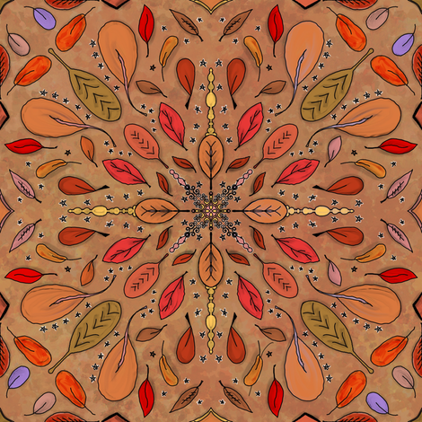 Fall Project 80.5   Autumn Leaves on Golden Harvest Watercolor fabric by bohobear on Spoonflower - custom fabric