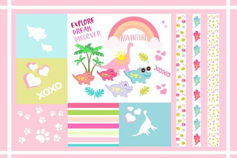 dino xoxo Adventure tea towel 27 fabric by drapestudio on Spoonflower - custom fabric
