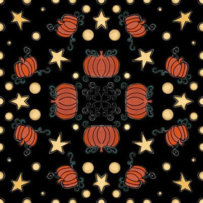Fall Project 786 | Pumpkins and Stars on Black
