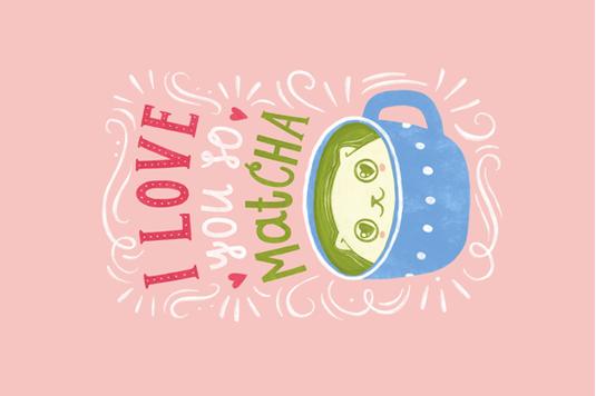 I love you so matcha! fabric by kondratya on Spoonflower - custom fabric