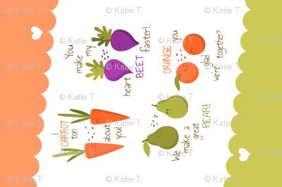 Puns Tea Towel Cute Fruits and Vegetables