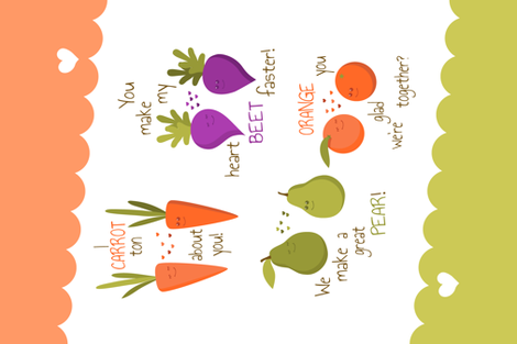 Puns Tea Towel Cute Fruits and Vegetables fabric by peartreetrail on Spoonflower - custom fabric