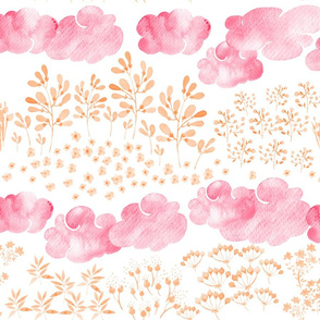 Watercolor baby girl pattern