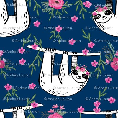 sleepy sloth fabric, lazy day sloth fabric, sloth fabric, happy sloth fabric, sloth fabric by the yard - florals - navy