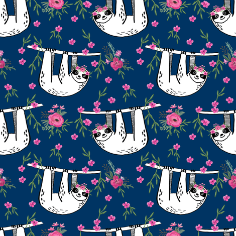 sleepy sloth fabric, lazy day sloth fabric, sloth fabric, happy sloth fabric, sloth fabric by the yard - florals - navy fabric by andrea_lauren on Spoonflower - custom fabric