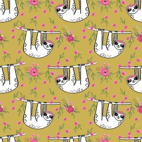 sleepy sloth fabric, lazy day sloth fabric, sloth fabric, happy sloth fabric, sloth fabric by the yard - florals - mustard