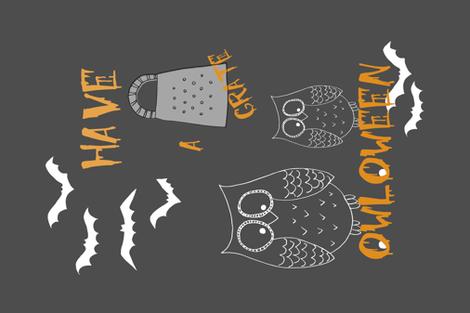 GrateOwloweenPun fabric by maredesigns on Spoonflower - custom fabric