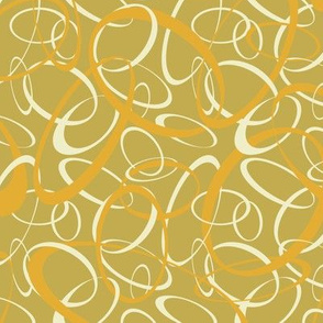 Funky retro loops olive orange white