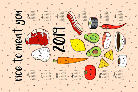 rice to meat you 2019 fabric by analinea on Spoonflower - custom fabric