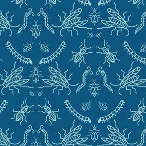 Blue Insect Damask