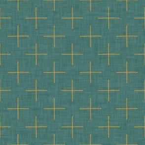 Plus Signs (Saffron) on Textured #3a6b64