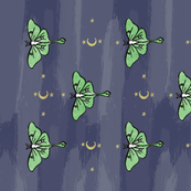 Tea Towel: Block Print Luna Moth with Moon and Stars