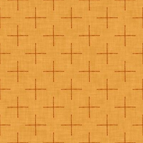 Plus Signs (Terracotta) on Textured #f3a33b