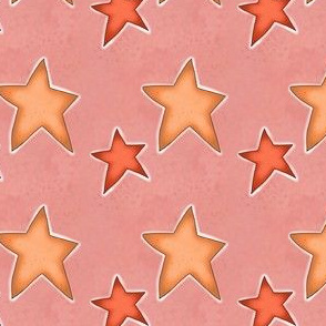 Fall Project 787.4 | Autumn Stars on Pink Watercolor Background