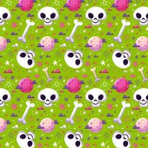 Halloween Skulls on Green-01
