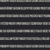 ★ PARDON MY FRENCH! ★ French Slang Stripes – Ecru on Black / Collection : French Style :) Words & Breton Stripes Prints