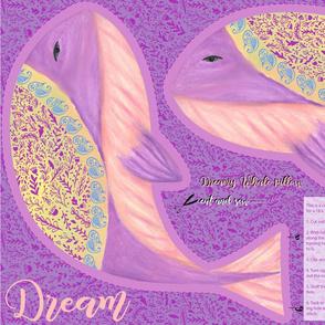 Dreamy purple whale pillow