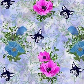 Blue Poppy Pink Anemone on Blue